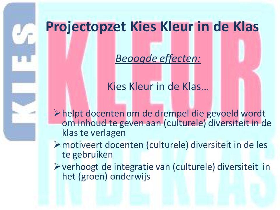 Beoogde effecten: Kies Kleur in de Klas…  helpt docenten om de drempel die gevoeld wordt om inhoud te geven aan (culturele) diversiteit in de klas te verlagen  motiveert docenten (culturele) diversiteit in de les te gebruiken  verhoogt de integratie van (culturele) diversiteit in het (groen) onderwijs Projectopzet Kies Kleur in de Klas