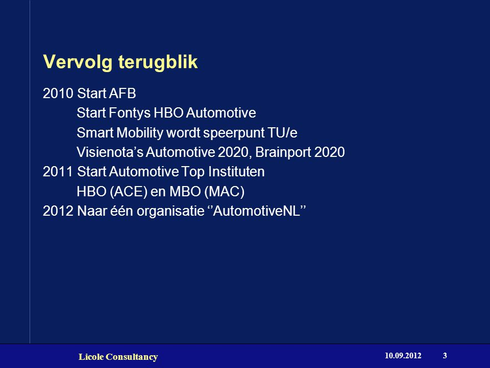 Vervolg terugblik 10.09.2012 Licole Consultancy 3 2010 Start AFB Start Fontys HBO Automotive Smart Mobility wordt speerpunt TU/e Visienota's Automotiv