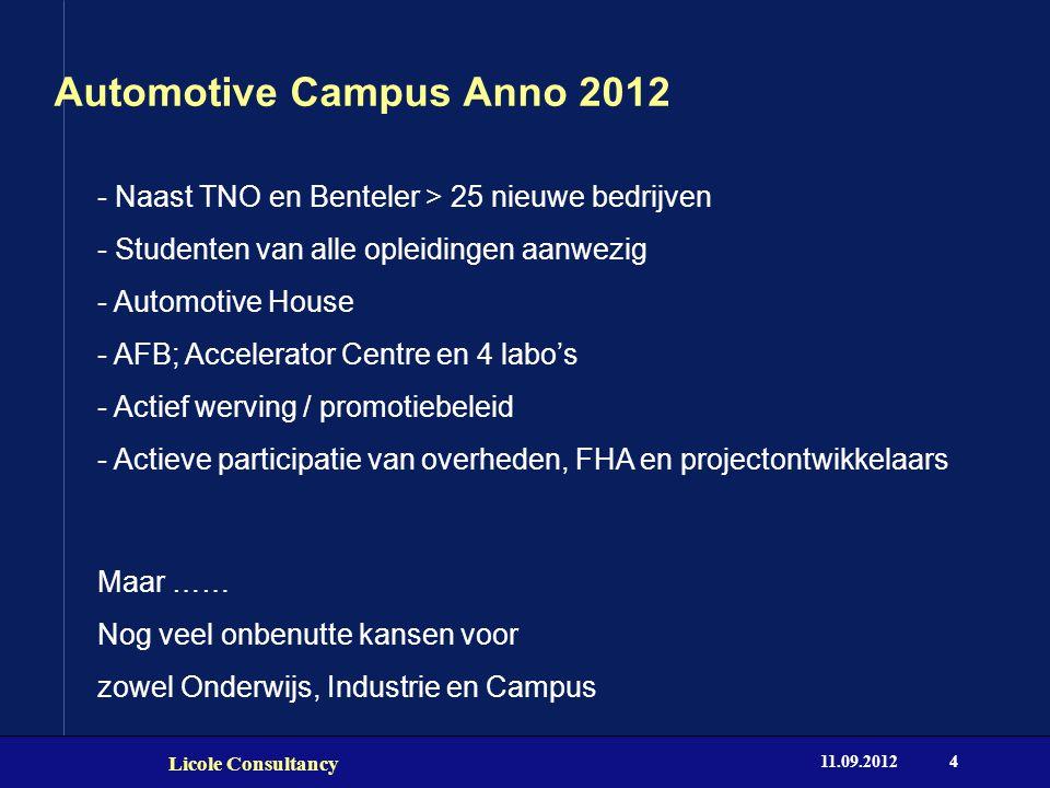 Automotive Campus Anno 2012 11.09.2012 Licole Consultancy 4 - Naast TNO en Benteler > 25 nieuwe bedrijven - Studenten van alle opleidingen aanwezig -