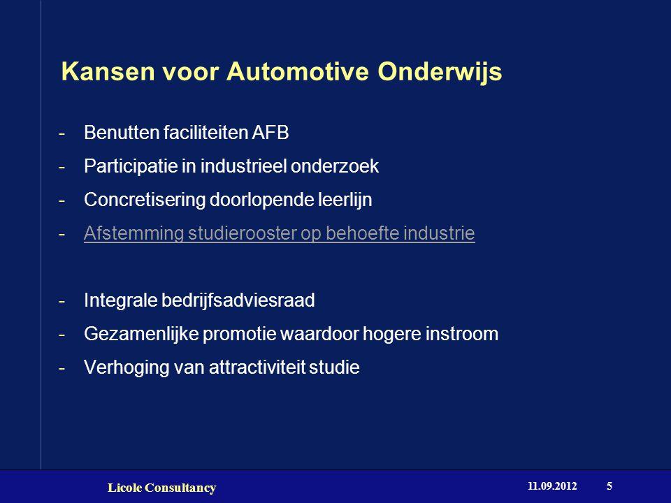 Kansen voor Automotive Onderwijs 11.09.2012 Licole Consultancy 5 -Benutten faciliteiten AFB -Participatie in industrieel onderzoek -Concretisering doo