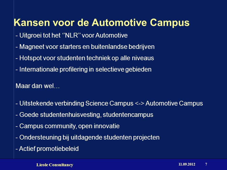 Kansen voor de Automotive Campus Licole Consultancy 11.09.20127 - Uitgroei tot het ''NLR'' voor Automotive - Magneet voor starters en buitenlandse bed