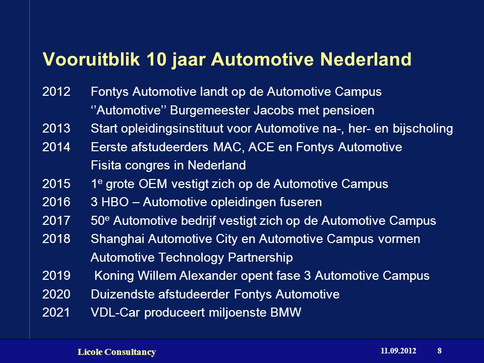 Vooruitblik 10 jaar Automotive Nederland 2012Fontys Automotive landt op de Automotive Campus ''Automotive'' Burgemeester Jacobs met pensioen 2013 Start opleidingsinstituut voor Automotive na-, her- en bijscholing 2014 Eerste afstudeerders MAC, ACE en Fontys Automotive Fisita congres in Nederland 2015 1 e grote OEM vestigt zich op de Automotive Campus 2016 3 HBO – Automotive opleidingen fuseren 2017 50 e Automotive bedrijf vestigt zich op de Automotive Campus 2018 Shanghai Automotive City en Automotive Campus vormen Automotive Technology Partnership 2019 Koning Willem Alexander opent fase 3 Automotive Campus 2020 Duizendste afstudeerder Fontys Automotive 2021 VDL-Car produceert miljoenste BMW 11.09.2012 Licole Consultancy 8