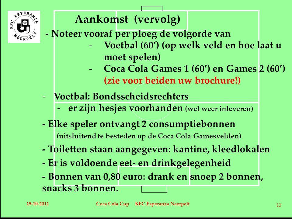 -Voetbal: Bondsscheidsrechters -er zijn hesjes voorhanden (wel weer inleveren) Aankomst (vervolg) - Noteer vooraf per ploeg de volgorde van -Voetbal (60') (op welk veld en hoe laat u moet spelen) -Coca Cola Games 1 (60') en Games 2 (60') (zie voor beiden uw brochure!) - Elke speler ontvangt 2 consumptiebonnen (uitsluitend te besteden op de Coca Cola Gamesvelden) - Toiletten staan aangegeven: kantine, kleedlokalen - Er is voldoende eet- en drinkgelegenheid - Bonnen van 0,80 euro: drank en snoep 2 bonnen, snacks 3 bonnen.