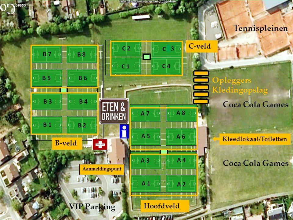Coca Cola Games Coca Cola Games VIP Parking Tennispleinen Kleedlokaal/Toiletten Opleggers Kledingopslag Hoofdveld C-veld B-veld 3