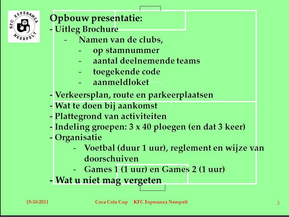 Opbouw presentatie: - Uitleg Brochure -Namen van de clubs, -op stamnummer -aantal deelnemende teams -toegekende code -aanmeldloket - Verkeersplan, route en parkeerplaatsen - Wat te doen bij aankomst - Plattegrond van activiteiten - Indeling groepen: 3 x 40 ploegen (en dat 3 keer) - Organisatie -Voetbal (duur 1 uur), reglement en wijze van doorschuiven -Games 1 (1 uur) en Games 2 (1 uur) - Wat u niet mag vergeten 15-10-2011Coca Cola Cup KFC Esperanza Neerpelt 2