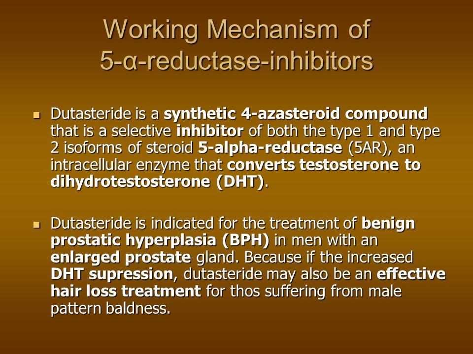 5-alfa-reductase-inhibitoren 5-alfa-reductase converteert testosterone naar dihydrotestosteron 5-alfa-reductase converteert testosterone naar dihydrotestosteron Dihydrotestosteron (DHT) is de werkzame metaboliet van testosteron die o.a.