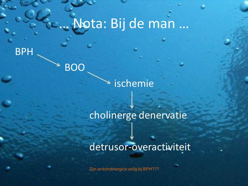 … Nota: Bij de man … BPH BOO ischemie cholinerge denervatie detrusor-overactiviteit