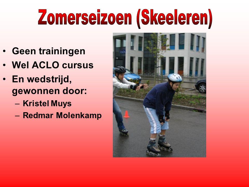 Geen trainingen Wel ACLO cursus En wedstrijd, gewonnen door: –Kristel Muys –Redmar Molenkamp