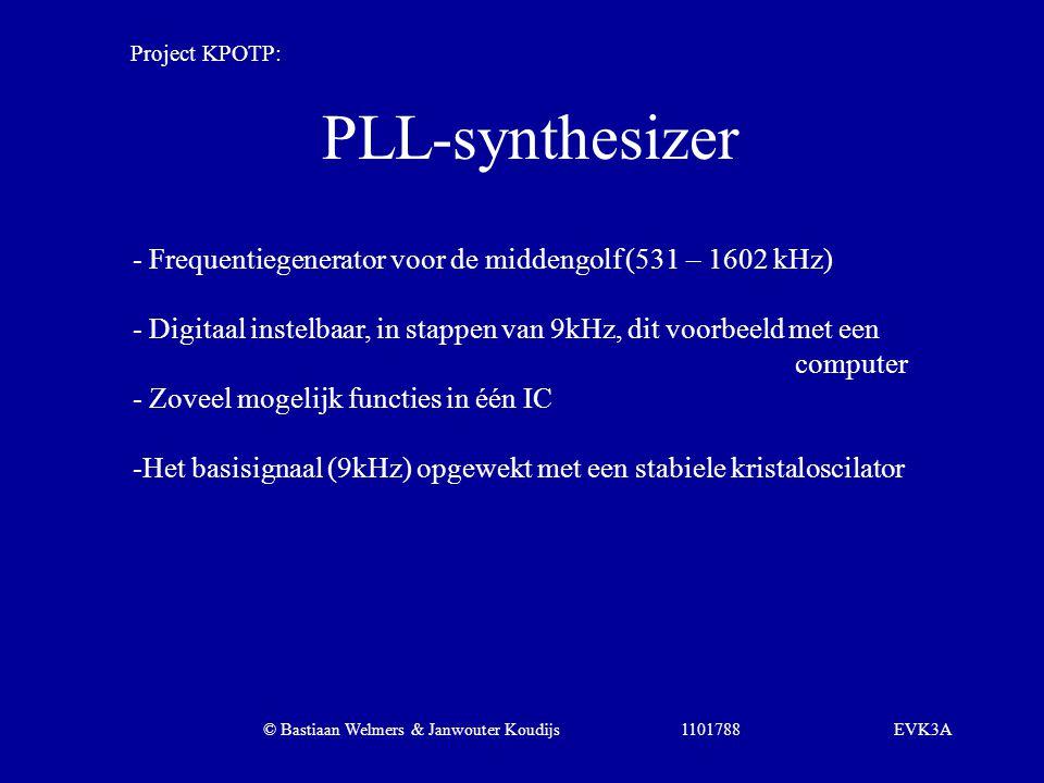PLL-synthesizer - Frequentiegenerator voor de middengolf (531 – 1602 kHz) - Digitaal instelbaar, in stappen van 9kHz, dit voorbeeld met een computer -