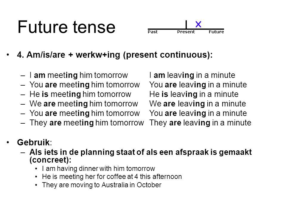 Future tense 5.Werkwoord (+(e)s) (present simple): –I start work at 8 a.m.