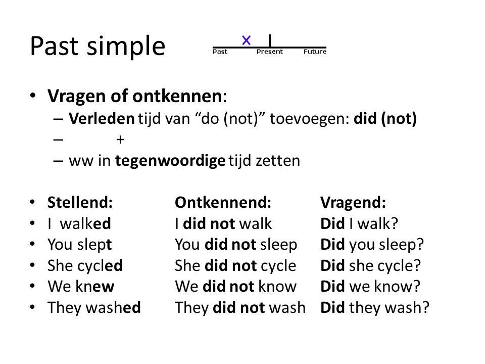 """Past simple Vragen of ontkennen: – Verleden tijd van """"do (not)"""" toevoegen: did (not) – + – ww in tegenwoordige tijd zetten Stellend:Ontkennend:Vragend"""
