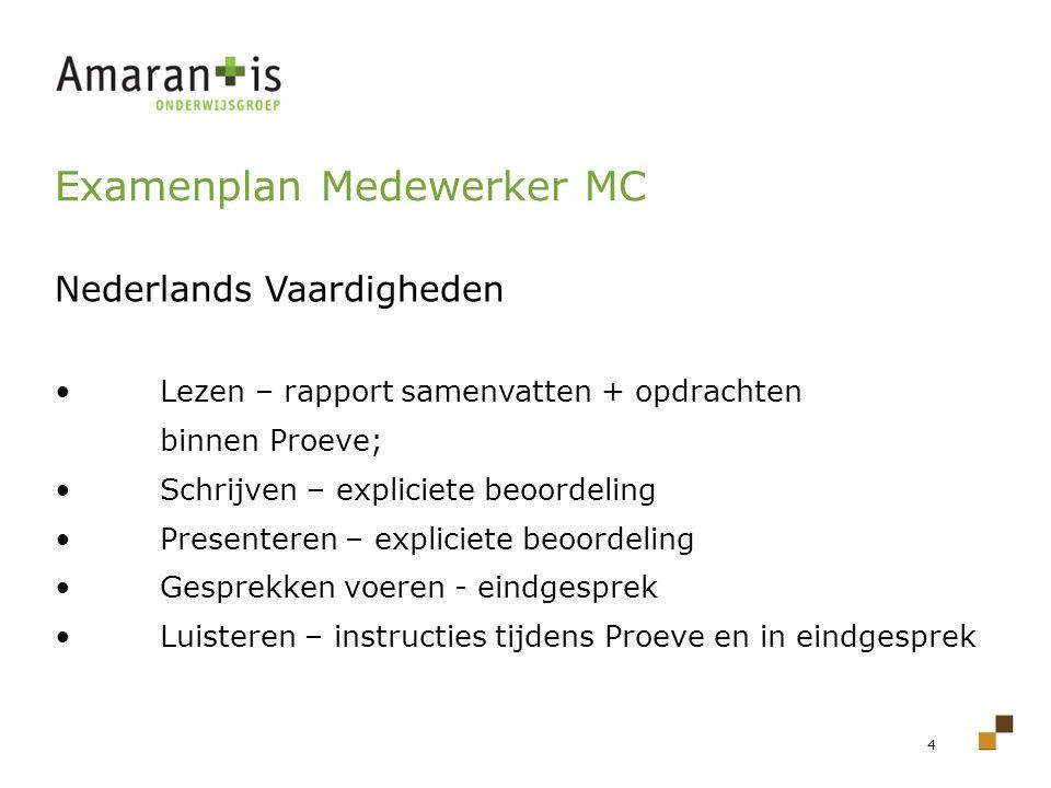 4 Examenplan Medewerker MC Nederlands Vaardigheden Lezen – rapport samenvatten + opdrachten binnen Proeve; Schrijven – expliciete beoordeling Presente