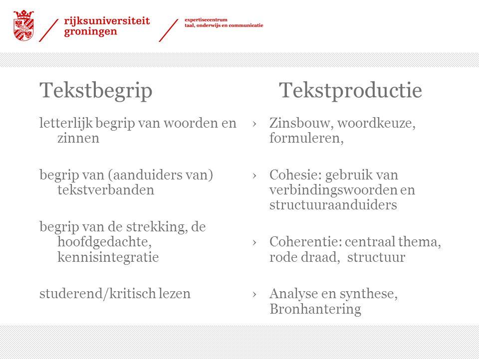 TekstbegripTekstproductie letterlijk begrip van woorden en zinnen begrip van (aanduiders van) tekstverbanden begrip van de strekking, de hoofdgedachte