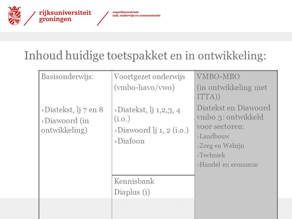 Diatekst vmbo 3 (in ontwikkeling) ›Toetsreeks per sector ›Iedere reeks bevat twee algemene schoolse teksten en drie sectorspecifieke ›In een evt.