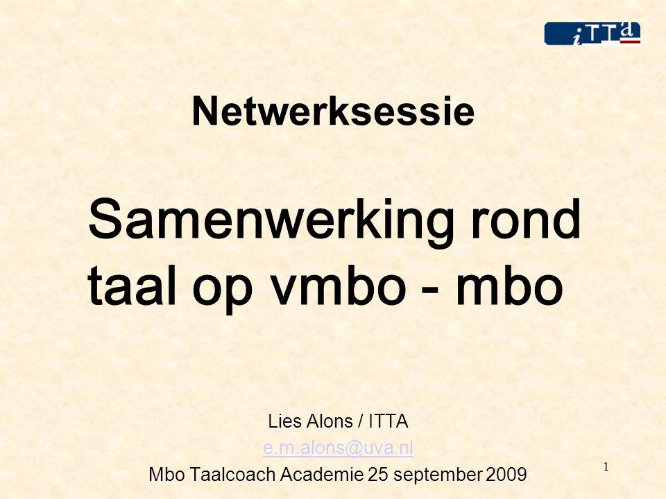 1 Netwerksessie Samenwerking rond taal op vmbo - mbo Lies Alons / ITTA e.m.alons@uva.nl Mbo Taalcoach Academie 25 september 2009