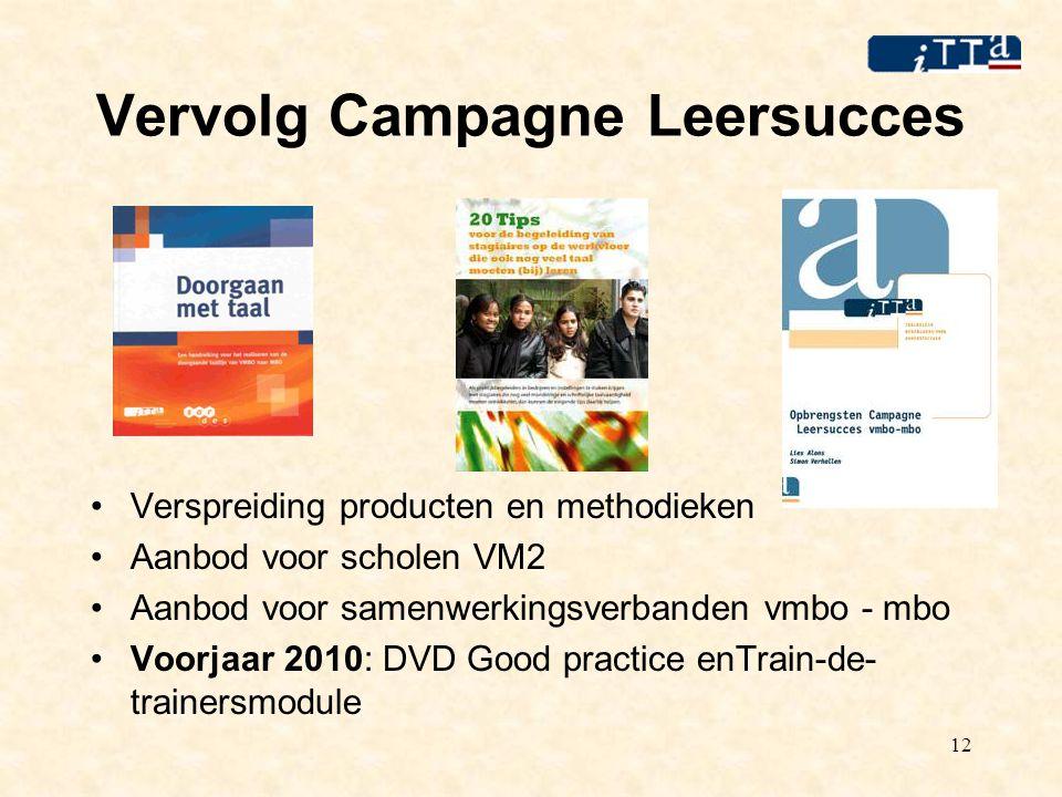 12 Vervolg Campagne Leersucces Verspreiding producten en methodieken Aanbod voor scholen VM2 Aanbod voor samenwerkingsverbanden vmbo - mbo Voorjaar 2010: DVD Good practice enTrain-de- trainersmodule
