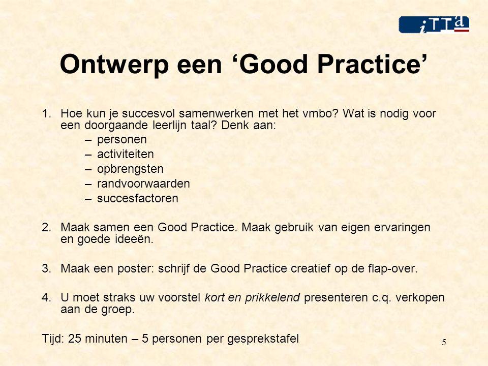 5 Ontwerp een 'Good Practice' 1.Hoe kun je succesvol samenwerken met het vmbo.