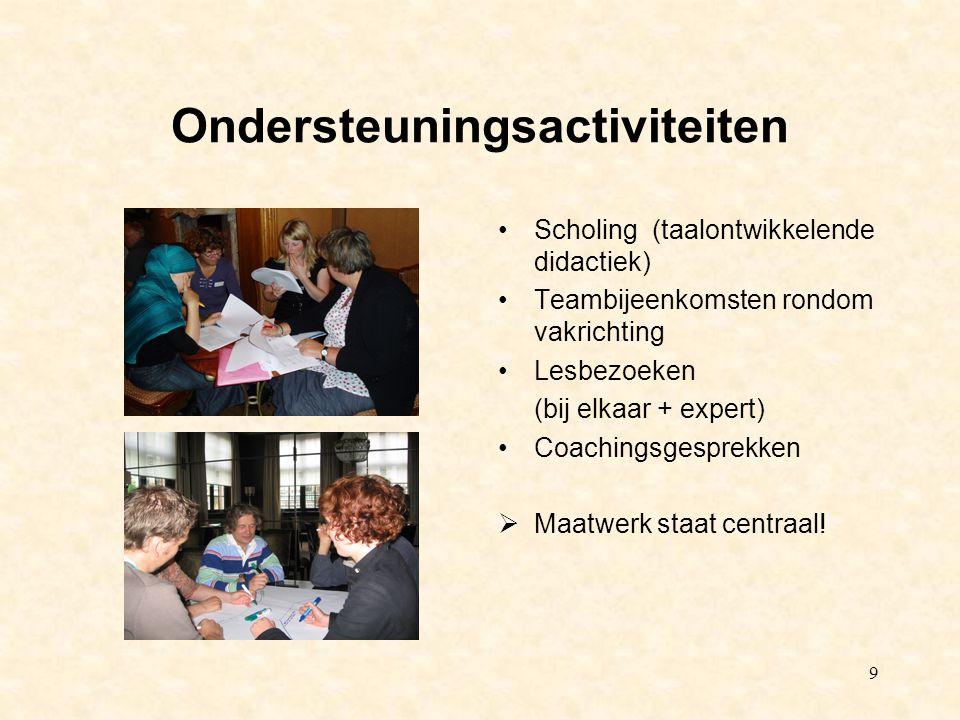 9 Ondersteuningsactiviteiten Scholing (taalontwikkelende didactiek) Teambijeenkomsten rondom vakrichting Lesbezoeken (bij elkaar + expert) Coachingsgesprekken  Maatwerk staat centraal!