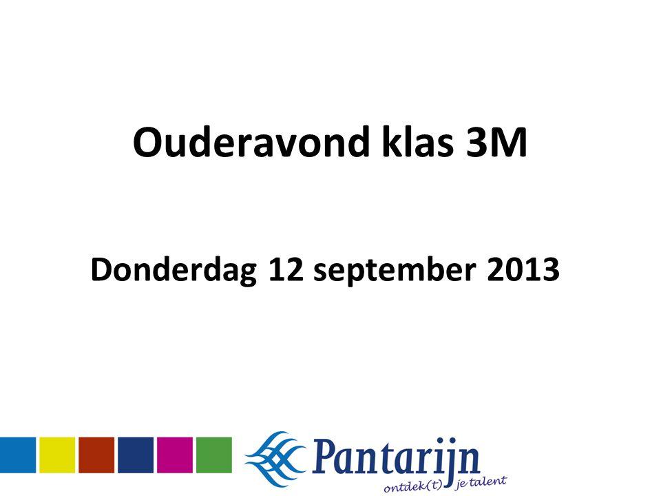 Ouderavond klas 3M Donderdag 12 september 2013