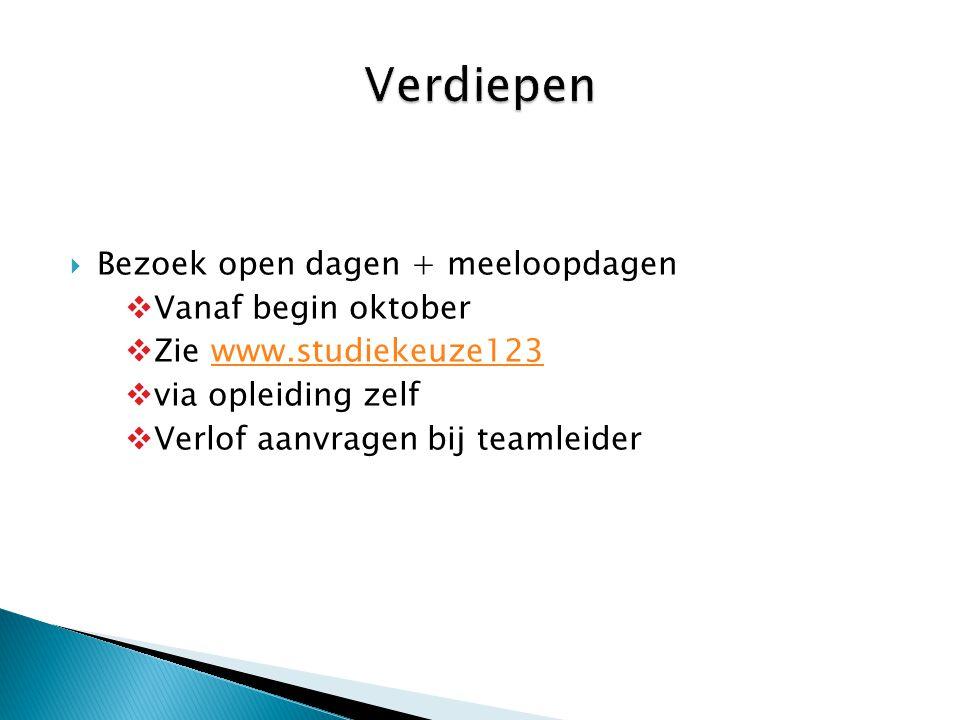  Bezoek open dagen + meeloopdagen  Vanaf begin oktober  Zie www.studiekeuze123www.studiekeuze123  via opleiding zelf  Verlof aanvragen bij teamle