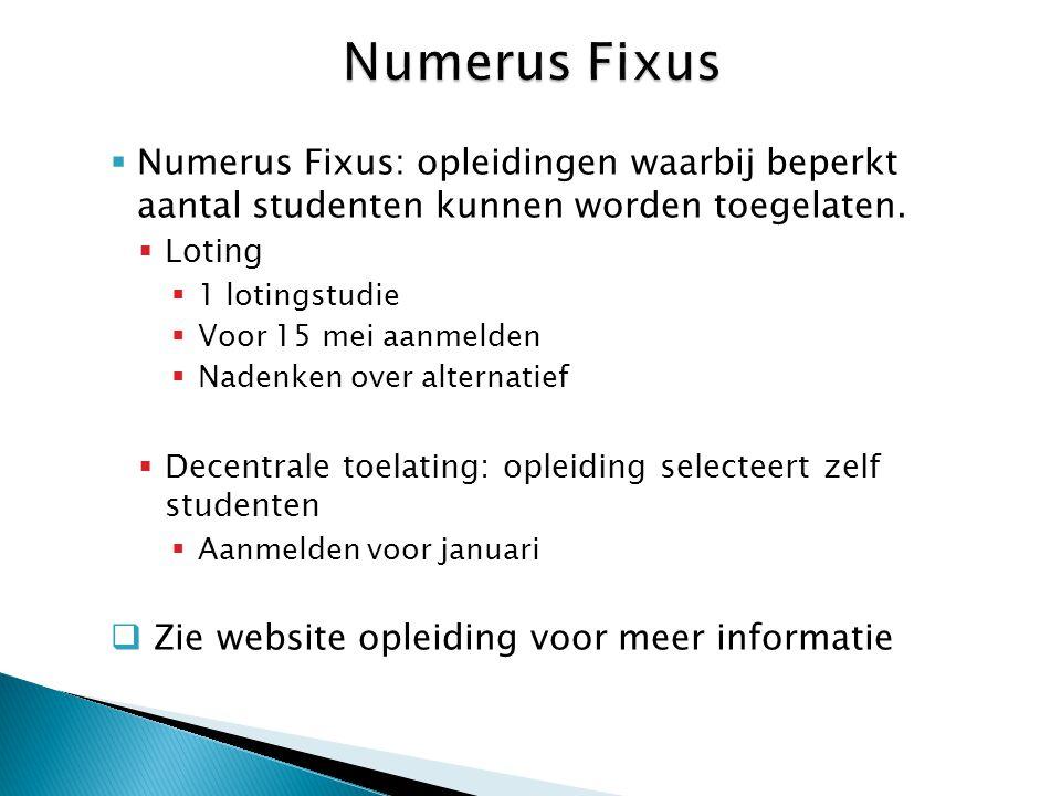  Numerus Fixus: opleidingen waarbij beperkt aantal studenten kunnen worden toegelaten.  Loting  1 lotingstudie  Voor 15 mei aanmelden  Nadenken o