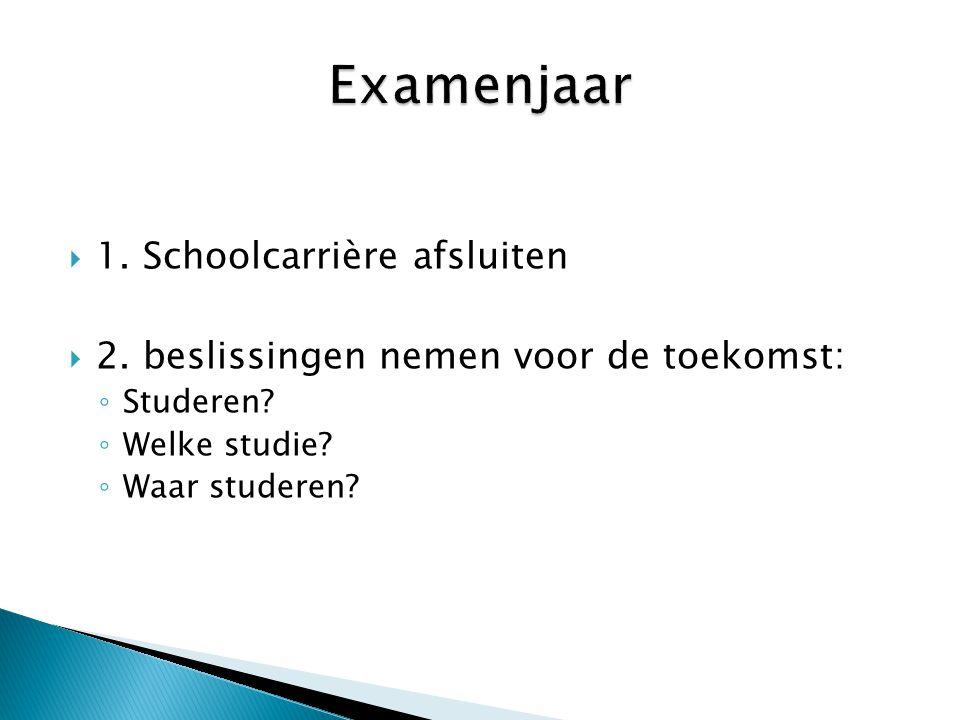  1. Schoolcarrière afsluiten  2. beslissingen nemen voor de toekomst: ◦ Studeren? ◦ Welke studie? ◦ Waar studeren?