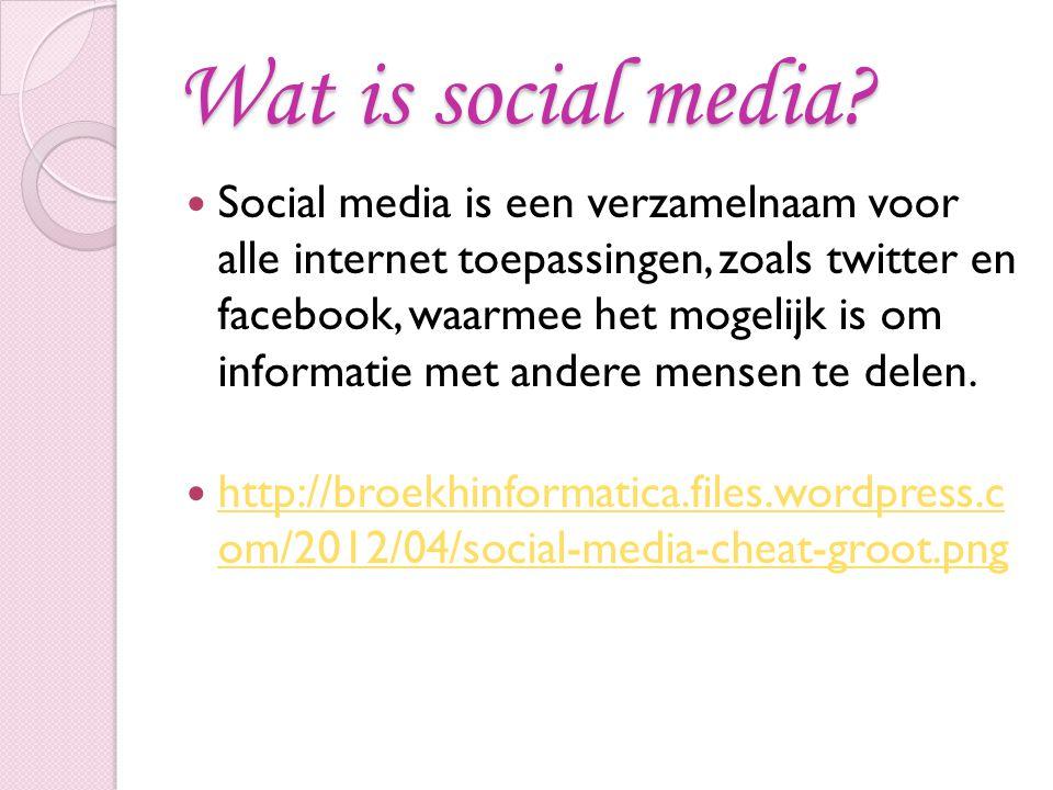 Wat is social media? Social media is een verzamelnaam voor alle internet toepassingen, zoals twitter en facebook, waarmee het mogelijk is om informati