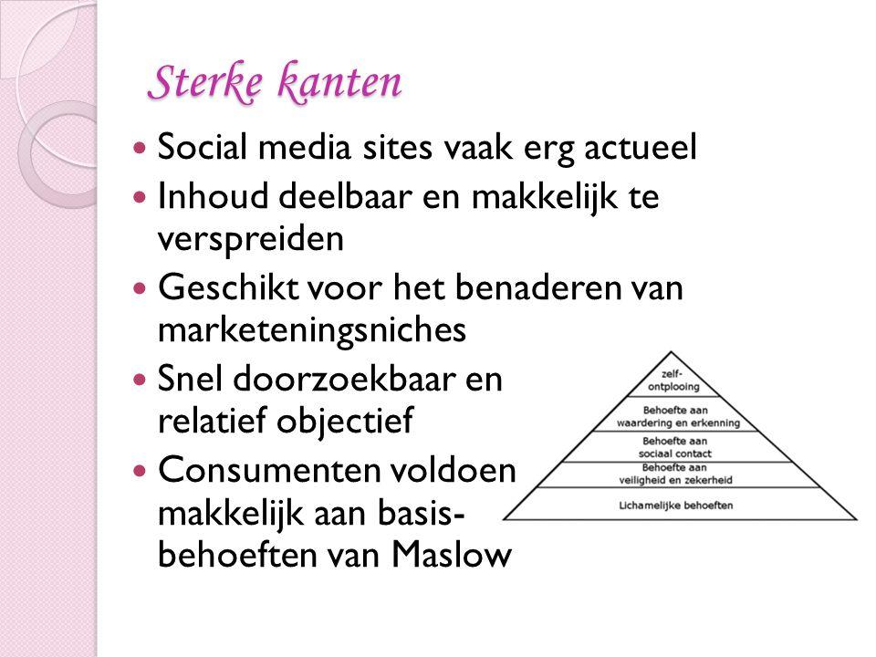 Sterke kanten Social media sites vaak erg actueel Inhoud deelbaar en makkelijk te verspreiden Geschikt voor het benaderen van marketeningsniches Snel