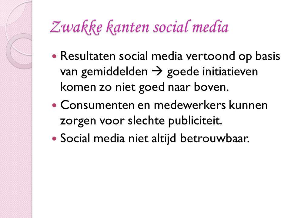 Zwakke kanten social media Resultaten social media vertoond op basis van gemiddelden  goede initiatieven komen zo niet goed naar boven. Consumenten e