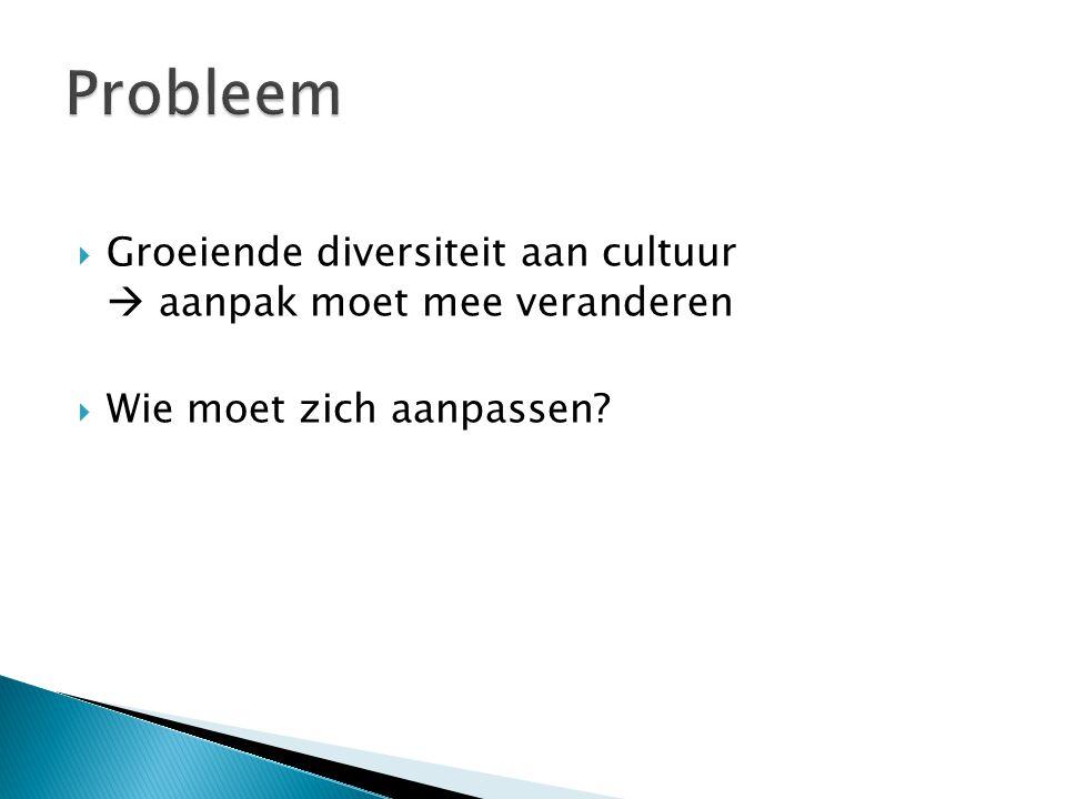  Groeiende diversiteit aan cultuur  aanpak moet mee veranderen  Wie moet zich aanpassen?
