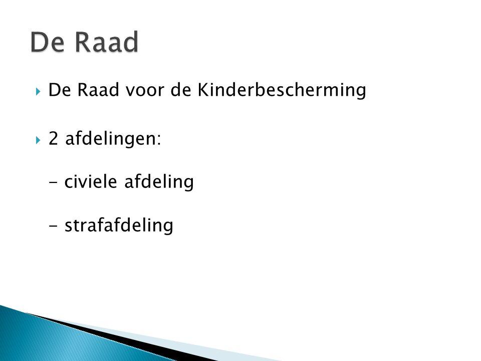  De Raad voor de Kinderbescherming  2 afdelingen: - civiele afdeling - strafafdeling