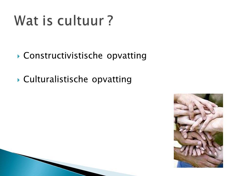 Constructivistische opvatting  Culturalistische opvatting