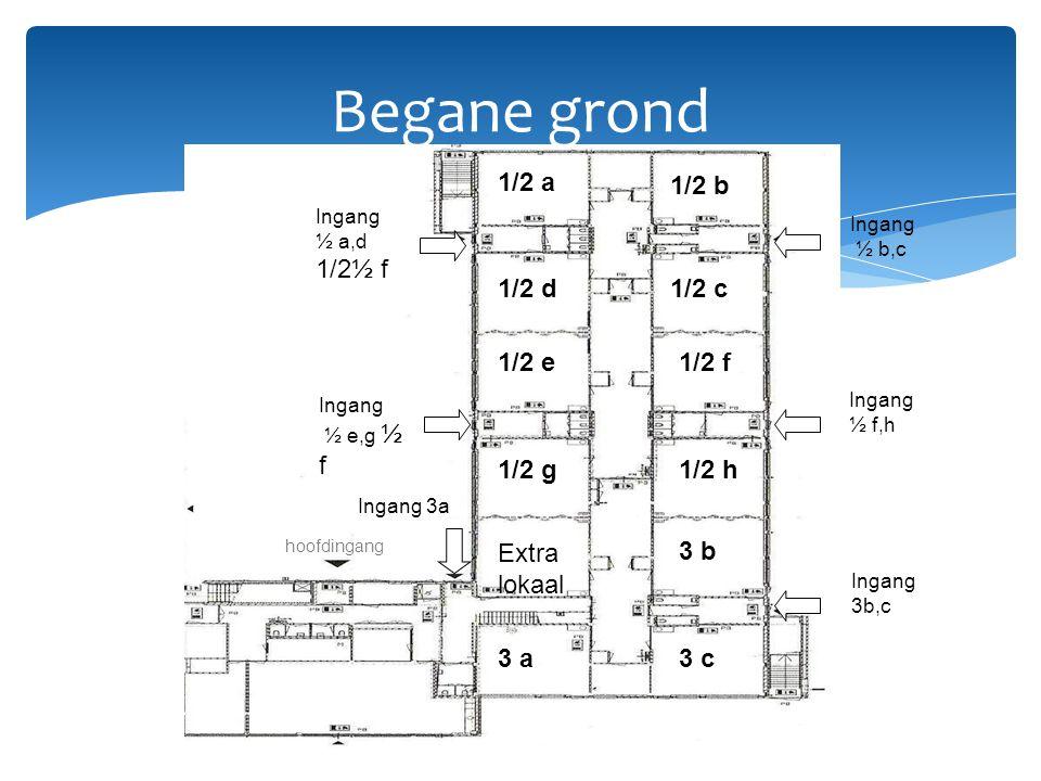 Begane grond 1/2 a 1/2 b 1/2 d1/2 c 1/2 e1/2 f 1/2 g1/2 h Extra lokaal 3 b 3 c3 a hoofdingang Ingang 3a Ingang ½ b,c Ingang ½ f,h Ingang 3b,c Ingang ½ a,d 1/2½ f Ingang ½ e,g ½ f