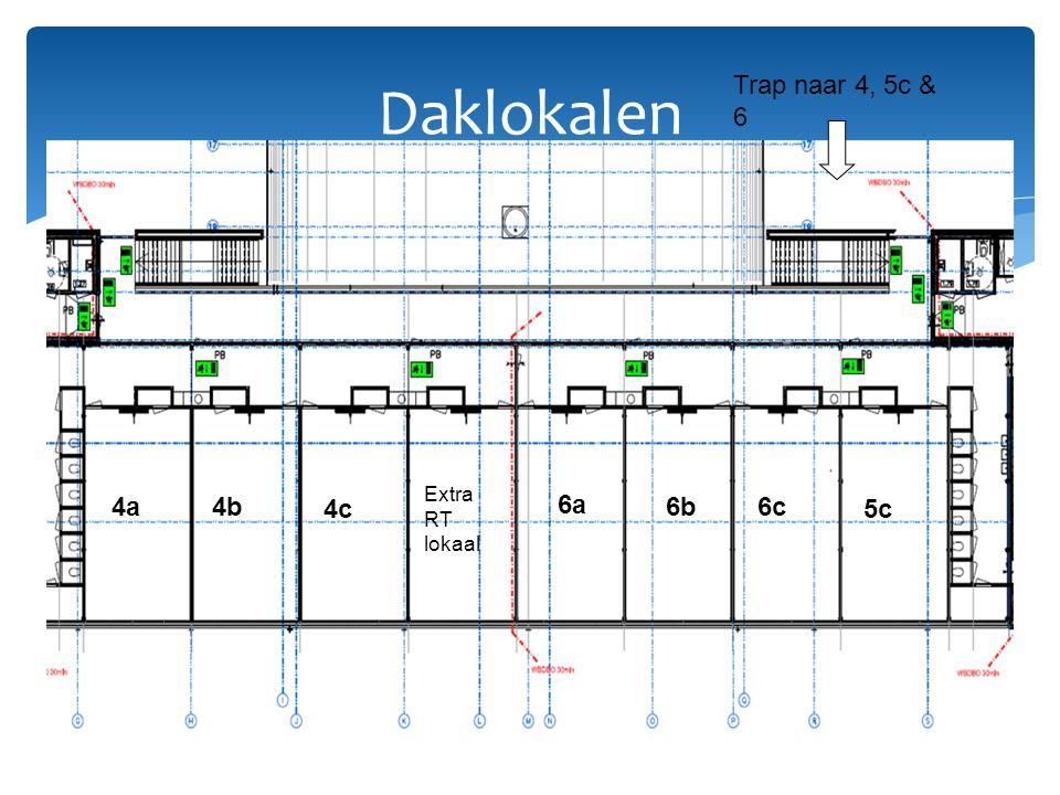 Daklokalen 5c 6a 6b Extra RT lokaal 4a 4c 4b Trap naar 4, 5c & 6 6c