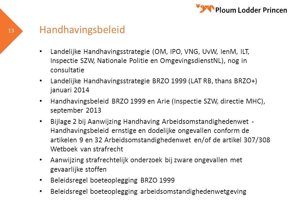 13 Handhavingsbeleid Landelijke Handhavingsstrategie (OM, IPO, VNG, UvW, IenM, ILT, Inspectie SZW, Nationale Politie en OmgevingsdienstNL), nog in con