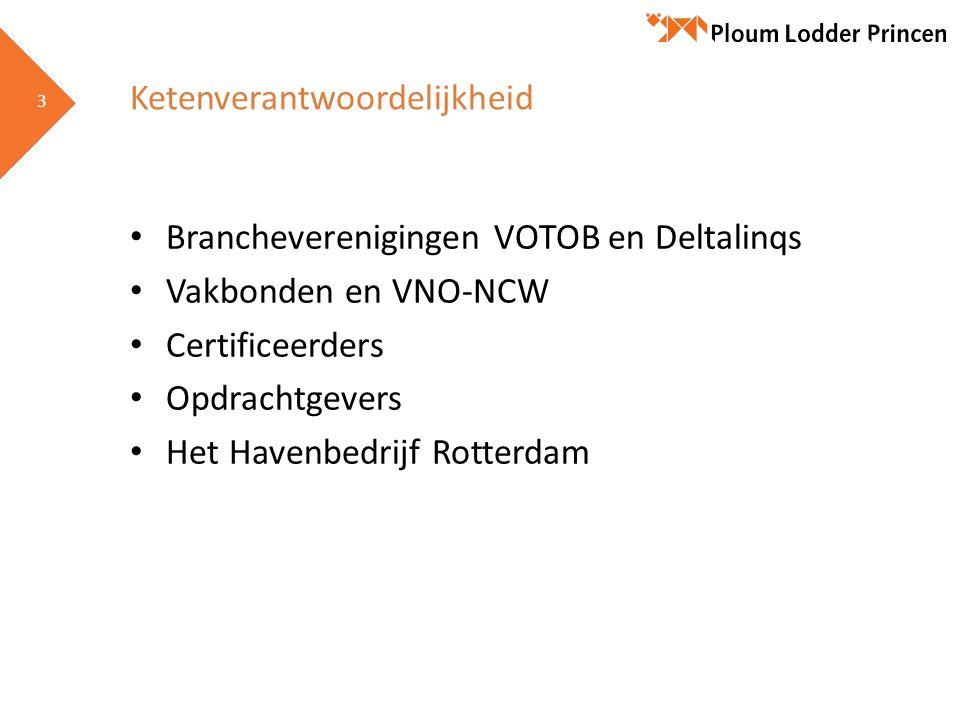 3 3 Ketenverantwoordelijkheid Brancheverenigingen VOTOB en Deltalinqs Vakbonden en VNO-NCW Certificeerders Opdrachtgevers Het Havenbedrijf Rotterdam