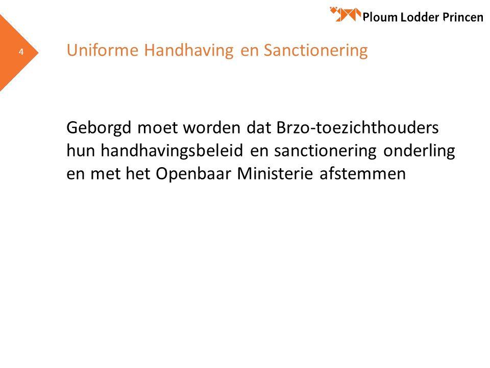 4 4 Uniforme Handhaving en Sanctionering Geborgd moet worden dat Brzo-toezichthouders hun handhavingsbeleid en sanctionering onderling en met het Open