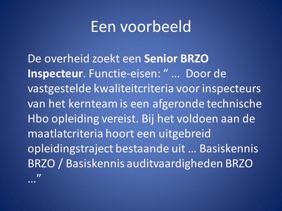"""Een voorbeeld De overheid zoekt een Senior BRZO Inspecteur. Functie-eisen: """" … Door de vastgestelde kwaliteitcriteria voor inspecteurs van het kerntea"""
