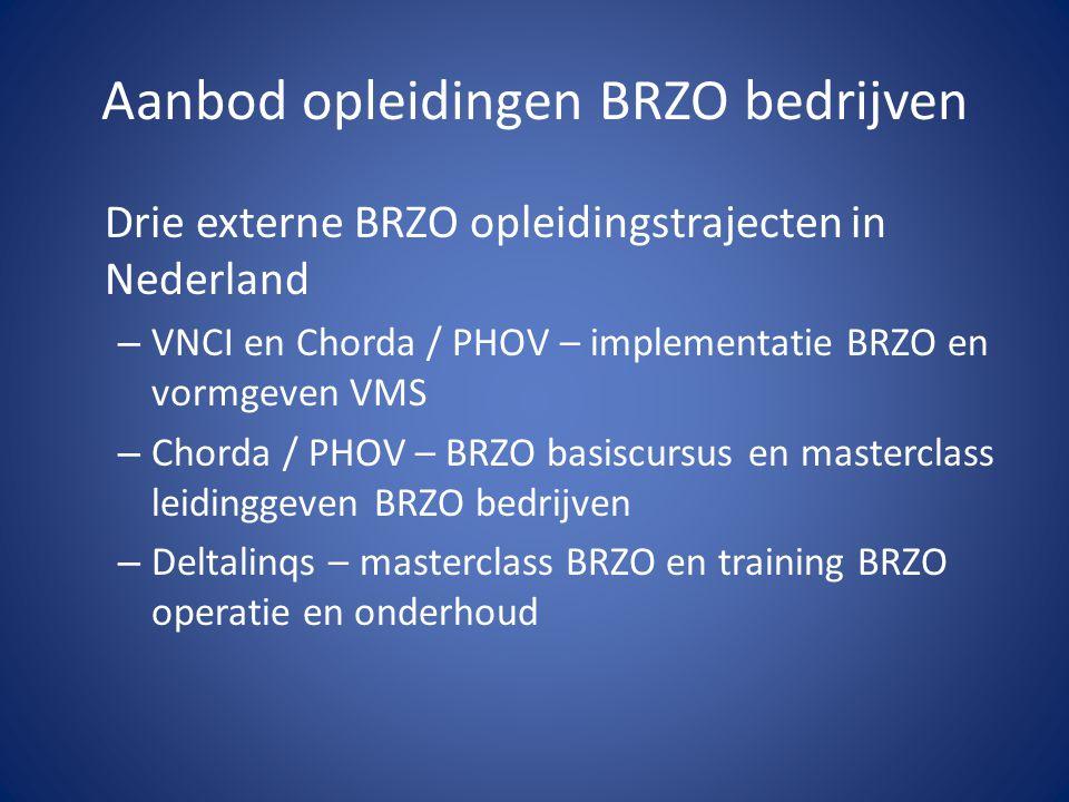 Aanbod opleidingen BRZO bedrijven Drie externe BRZO opleidingstrajecten in Nederland – VNCI en Chorda / PHOV – implementatie BRZO en vormgeven VMS – C