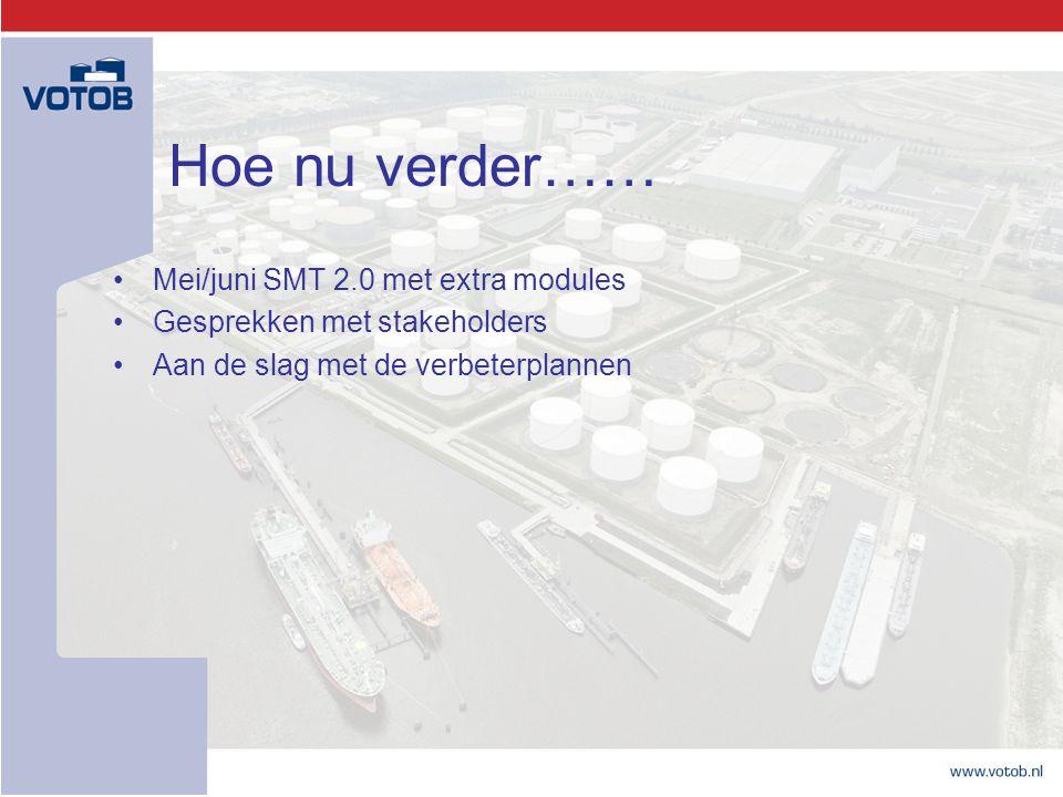 Hoe nu verder…… Mei/juni SMT 2.0 met extra modules Gesprekken met stakeholders Aan de slag met de verbeterplannen
