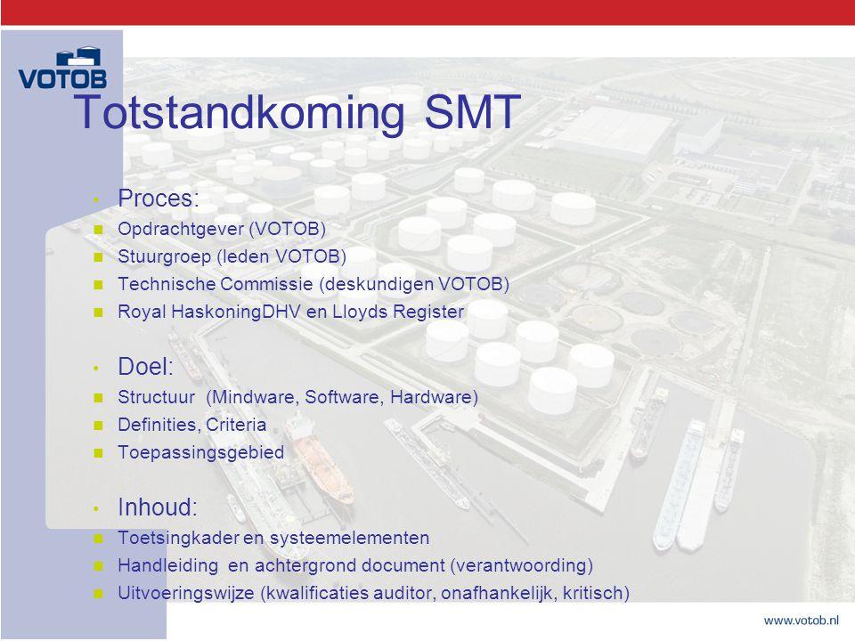 Totstandkoming SMT Proces: Opdrachtgever (VOTOB) Stuurgroep (leden VOTOB) Technische Commissie (deskundigen VOTOB) Royal HaskoningDHV en Lloyds Regist