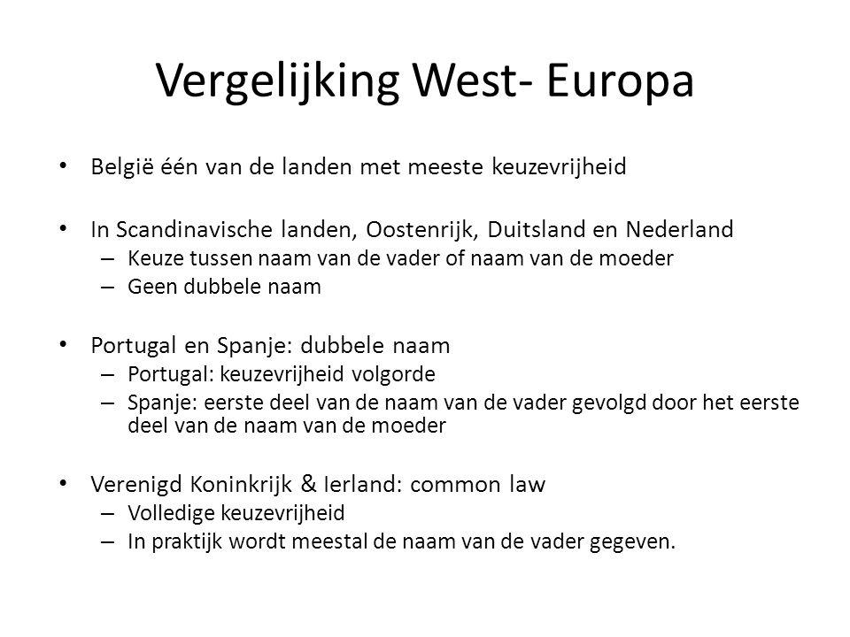 Vergelijking West- Europa België één van de landen met meeste keuzevrijheid In Scandinavische landen, Oostenrijk, Duitsland en Nederland – Keuze tussen naam van de vader of naam van de moeder – Geen dubbele naam Portugal en Spanje: dubbele naam – Portugal: keuzevrijheid volgorde – Spanje: eerste deel van de naam van de vader gevolgd door het eerste deel van de naam van de moeder Verenigd Koninkrijk & Ierland: common law – Volledige keuzevrijheid – In praktijk wordt meestal de naam van de vader gegeven.