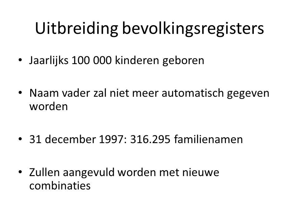 Uitbreiding bevolkingsregisters Jaarlijks 100 000 kinderen geboren Naam vader zal niet meer automatisch gegeven worden 31 december 1997: 316.295 familienamen Zullen aangevuld worden met nieuwe combinaties