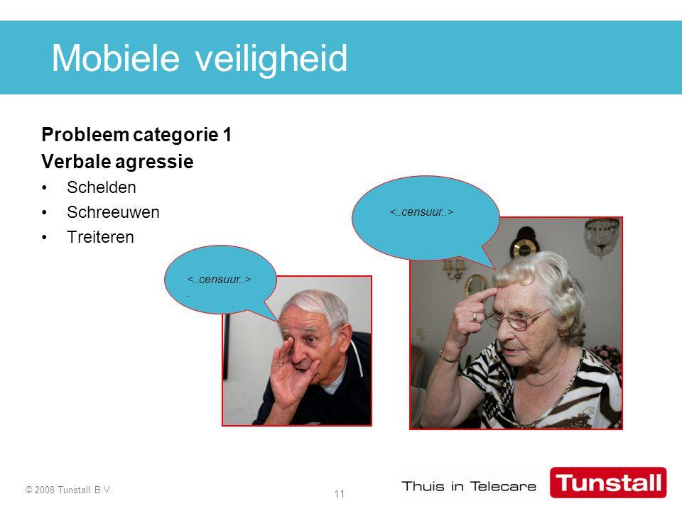 11 © 2008 Tunstall B.V. Mobiele veiligheid Probleem categorie 1 Verbale agressie Schelden Schreeuwen Treiteren.