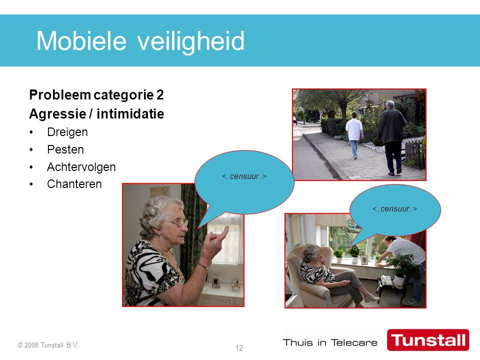 12 © 2008 Tunstall B.V. Probleem categorie 2 Agressie / intimidatie Dreigen Pesten Achtervolgen Chanteren Mobiele veiligheid