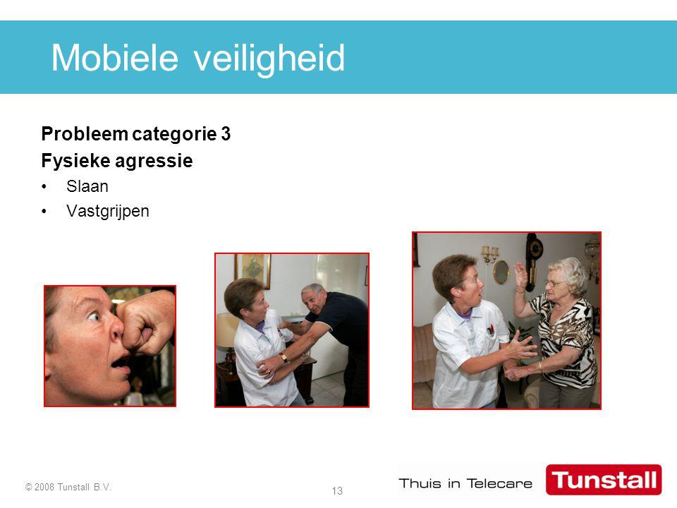 13 © 2008 Tunstall B.V. Mobiele veiligheid Probleem categorie 3 Fysieke agressie Slaan Vastgrijpen