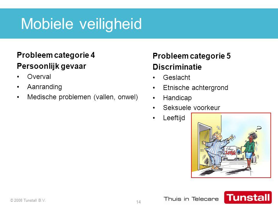14 © 2008 Tunstall B.V. Mobiele veiligheid Probleem categorie 4 Persoonlijk gevaar Overval Aanranding Medische problemen (vallen, onwel) Probleem cate