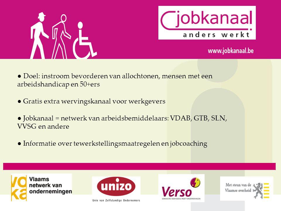 ● Doel: instroom bevorderen van allochtonen, mensen met een arbeidshandicap en 50+ers ● Gratis extra wervingskanaal voor werkgevers ● Jobkanaal = netw