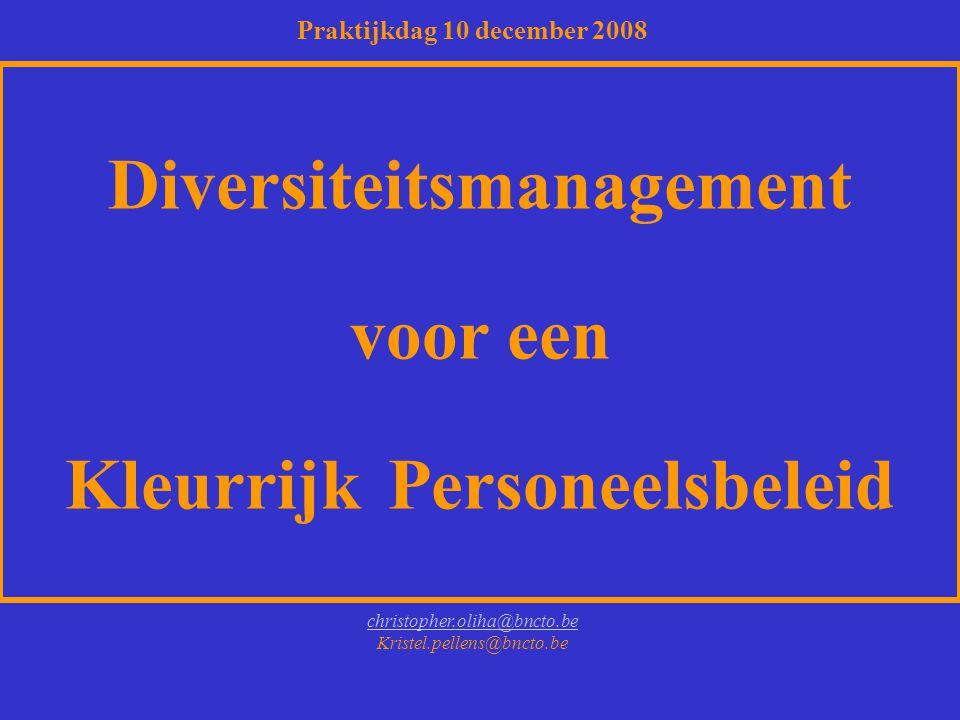 Diversiteitsmanagement voor een Kleurrijk Personeelsbeleid christopher.oliha@bncto.be Kristel.pellens@bncto.be Praktijkdag 10 december 2008