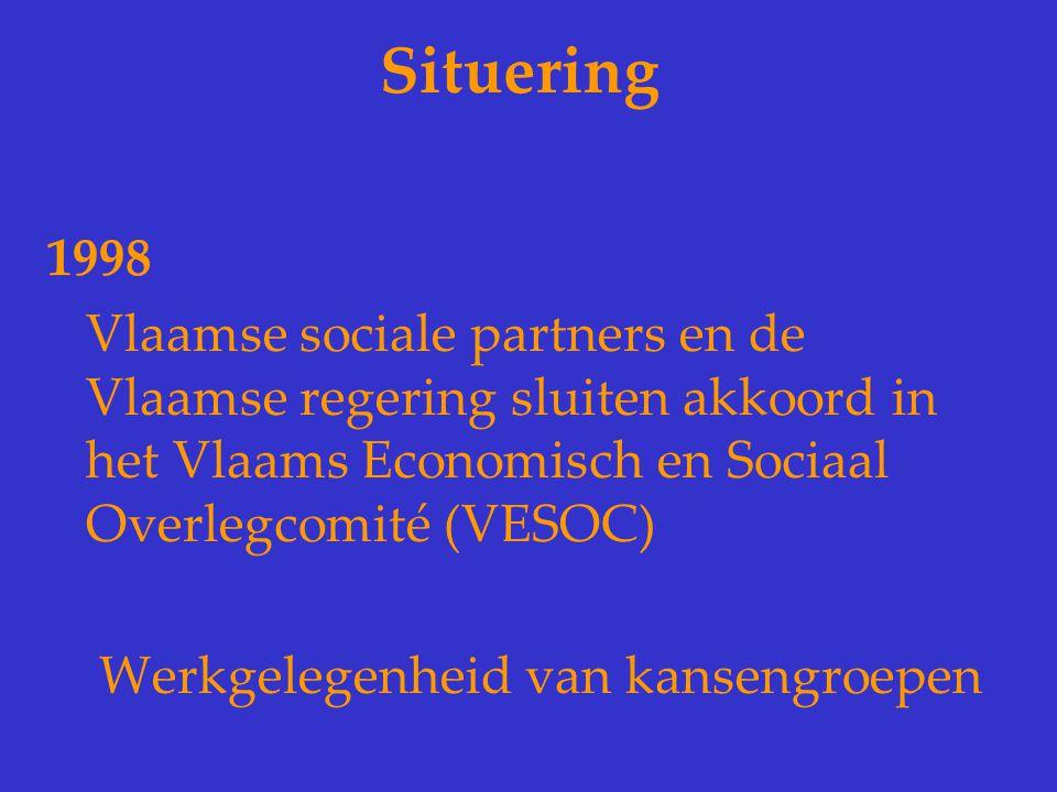 Situering 1998 Vlaamse sociale partners en de Vlaamse regering sluiten akkoord in het Vlaams Economisch en Sociaal Overlegcomité (VESOC) Werkgelegenhe
